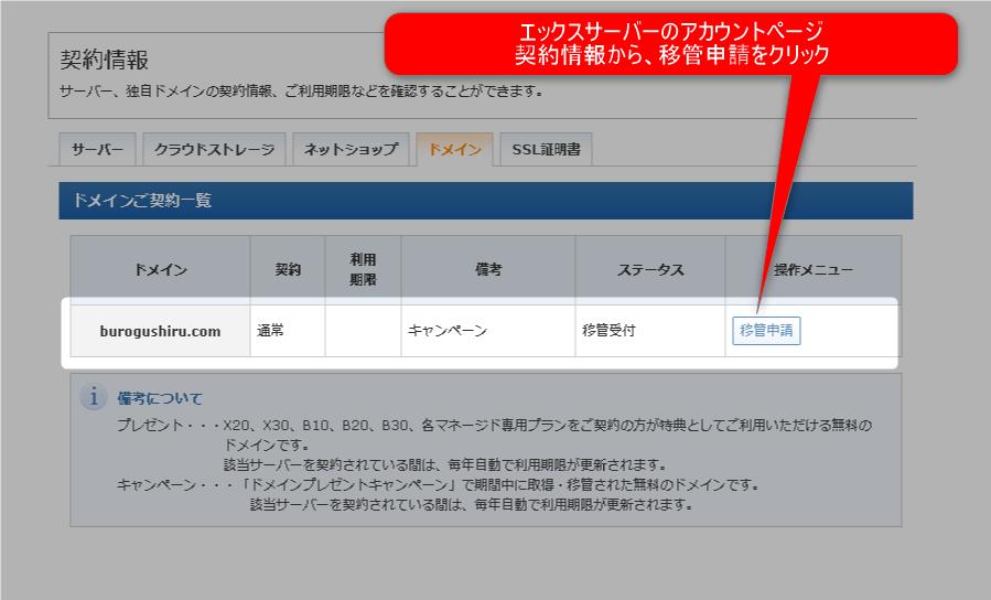 【ドメイン移管】見逃すな!無料でお名前.comからエックスサーバーにお引越し 6 エックスサーバー 移管申請開始